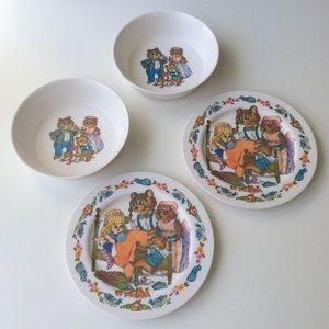 Oneida Goldilocks & Bears Melamine | Twins Dishes